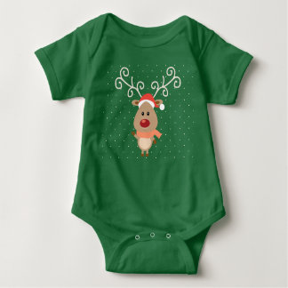 Cute Rudolph the red nosed reindeer cartoon Baby Bodysuit
