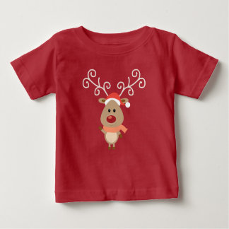 Cute Rudolph the red nosed reindeer cartoon Baby T-Shirt
