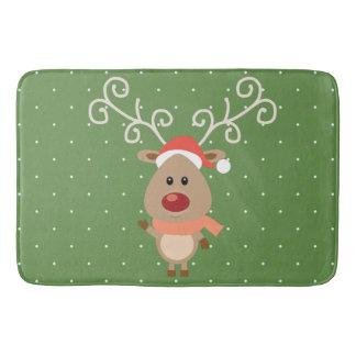 Cute Rudolph the red nosed reindeer cartoon Bath Mat