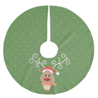 Cute Rudolph the red nosed reindeer cartoon Brushed Polyester Tree Skirt