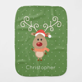 Cute Rudolph the red nosed reindeer cartoon Burp Cloth