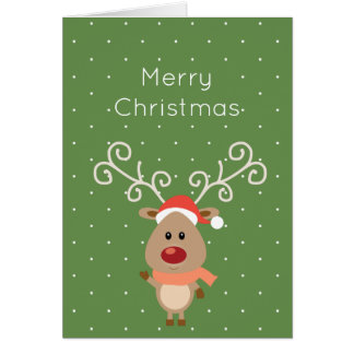 Cute Rudolph the red nosed reindeer cartoon Card