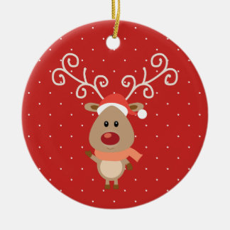 Cute Rudolph the red nosed reindeer cartoon Ceramic Ornament