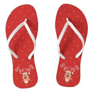 Cute Rudolph the red nosed reindeer cartoon Flip Flops