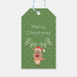 Cute Rudolph the red nosed reindeer cartoon Gift Tags