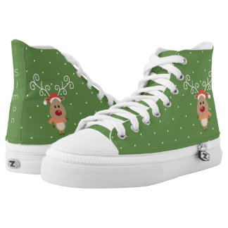 Cute Rudolph the red nosed reindeer cartoon High Tops