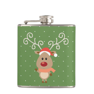 Cute Rudolph the red nosed reindeer cartoon Hip Flask