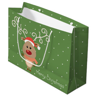 Cute Rudolph the red nosed reindeer cartoon Large Gift Bag