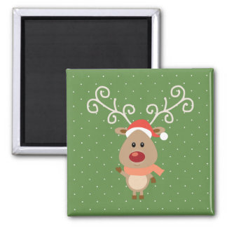 Cute Rudolph the red nosed reindeer cartoon Magnet