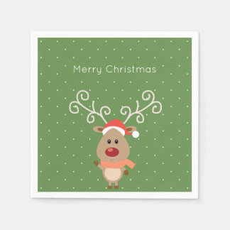 Cute Rudolph the red nosed reindeer cartoon Napkin