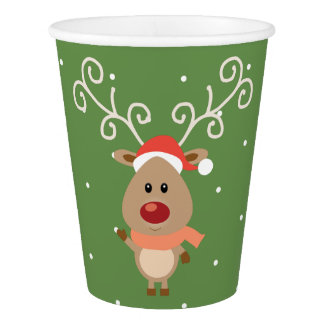 Cute Rudolph the red nosed reindeer cartoon Paper Cup