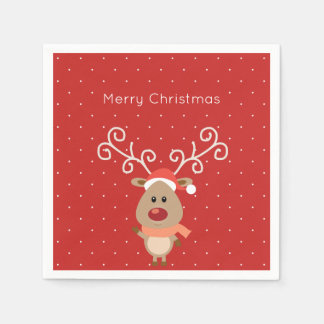 Cute Rudolph the red nosed reindeer cartoon Paper Napkin