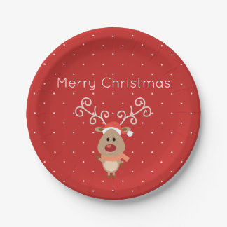 Cute Rudolph the red nosed reindeer cartoon Paper Plate