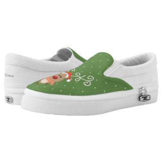 Cute Rudolph the red nosed reindeer cartoon Slip-On Sneakers