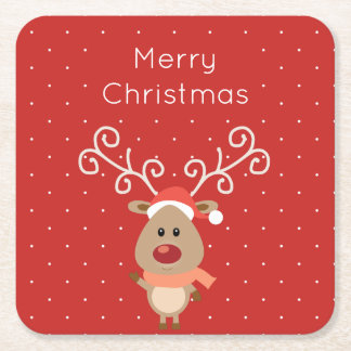 Cute Rudolph the red nosed reindeer cartoon Square Paper Coaster