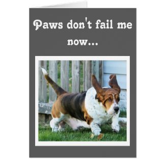 """Cute Running Basset on Funny """"Father's Day"""" Card"""