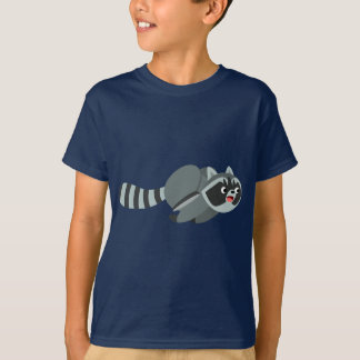 Cute Running Cartoon Raccoon Children T-Shirt