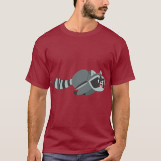 Cute Running Cartoon Raccoon T-Shirt