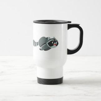 Cute Running Cartoon Raccoon Travel Mug