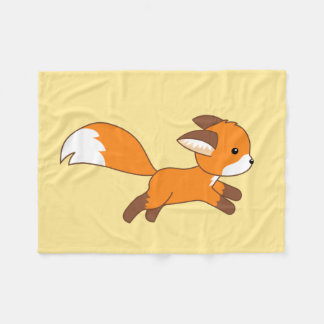 Cute Running Fox Fleece Blanket
