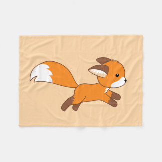Cute Running Fox on Cream Fleece Blanket