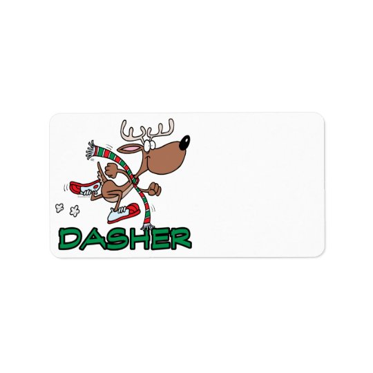 cute running reindeer DASHER cartoon