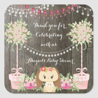 Cute Rustic Girl Bunny, Pink Flowers Baby Shower Square Sticker