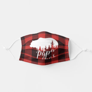 Cute Rustic Papa Bear Flannel Plaid Pattern Cloth Face Mask