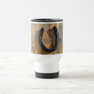 Cute Rustic Western Good Luck Horseshoe Wood Look Travel Mug