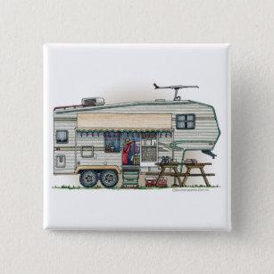 ced6454db0 Cute RV Vintage Fifth Wheel Camper Travel Trailer 2 Inch Square Button