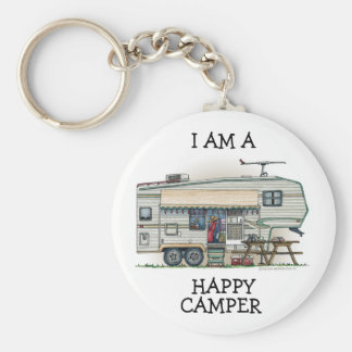 Cute RV Vintage Fifth Wheel Camper Travel Trailer Basic Round Button Keychain