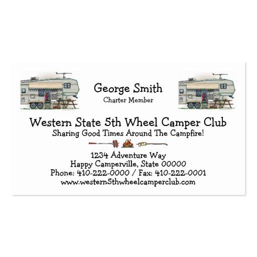 Cute RV Vintage Fifth Wheel Camper Travel Trailer Business Cards