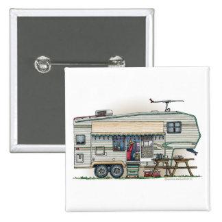 Cute RV Vintage Fifth Wheel Camper Travel Trailer Button