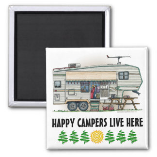 Cute RV Vintage Fifth Wheel Camper Travel Trailer Magnet