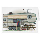 Cute RV Vintage Fifth Wheel Camper Travel Trailer Note Card