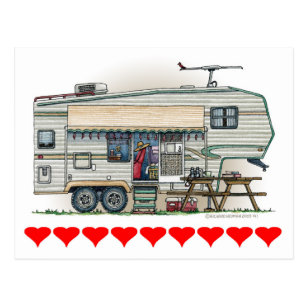 8a775a00af Cute RV Vintage Fifth Wheel Camper Travel Trailer Postcard