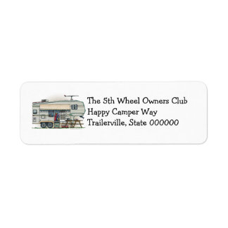 Cute RV Vintage Fifth Wheel Camper Travel Trailer Return Address Label