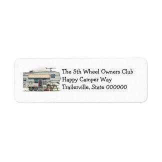 Cute RV Vintage Fifth Wheel Camper Travel Trailer Return Address Label