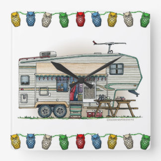 Cute RV Vintage Fifth Wheel Camper Travel Trailer Square Wall Clock
