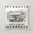 Cute RV Vintage Fifth Wheel Camper Travel Trailer Throw Pillow