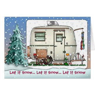 Cute RV Vintage glass egg camper Trailer Holiday Card