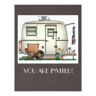 "Cute RV Vintage Glass Egg Camper Travel Trailer 4.25"" X 5.5"" Invitation Card"