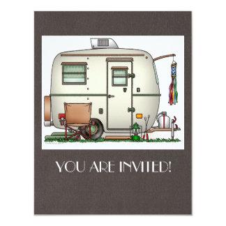 "Cute RV Vintage Glass Egg Camper Travel Trailer 4.25"" X 5.5"" Invitation Card"