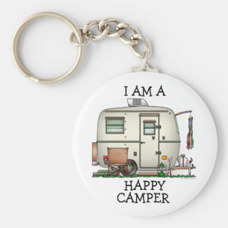 Cute RV Vintage Glass Egg Camper Travel Trailer Basic Round Button Keychain