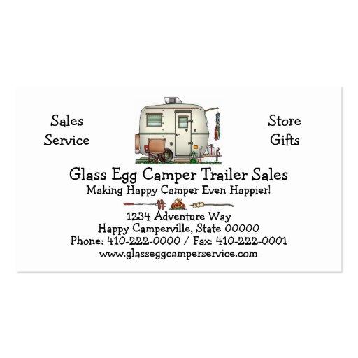 Cute RV Vintage Glass Egg Camper Travel Trailer Business Cards