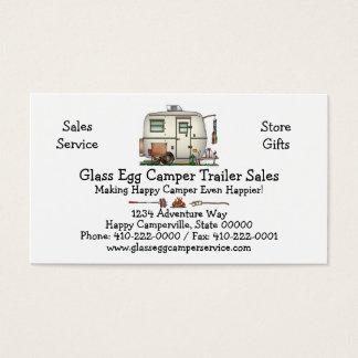 Cute RV Vintage Glass Egg Camper Travel Trailer Business Card
