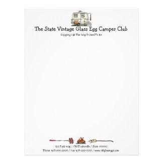 Cute RV Vintage Glass Egg Camper Travel Trailer Custom Letterhead