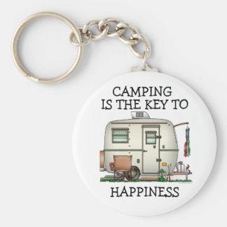 Cute RV Vintage Glass Egg Camper Travel Trailer Key Chain