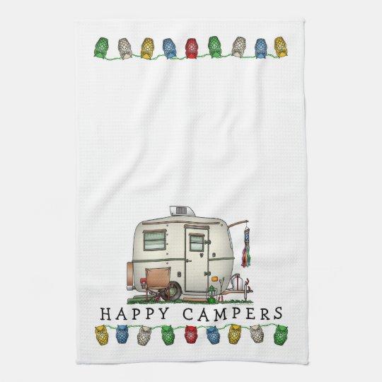 Cute RV Vintage Glass Egg Camper Travel Trailer Kitchen Towel
