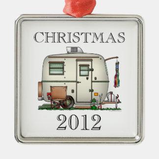 Cute RV Vintage Glass Egg Camper Travel Trailer Metal Ornament